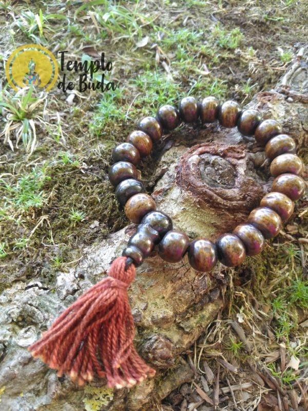 Pulseira Japa Mala Antiga Tibetana de Cura Castanho Escuro